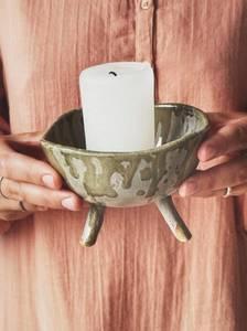 Bilde av Grønn - Keramikkfat på ben D: